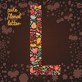 The letter L. Bright floral element of colorful alphabet made from birds, flowers, petals, hearts an