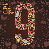 The number 9. Bright floral element of colorful alphabet made from birds, flowers, petals, hearts an