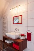 Ruby House - Red And White Bathroom