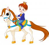 Cute little prince riding on a horse. Raster version.