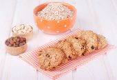 Sweet homemade cookie with oat flakes and raisins