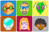 icons of avatars pixel art