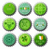 collection of St. Patrick's Day vector bottle caps