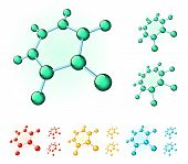 picture of heptagon  - Set of multicolored molecular structures of different forms - JPG