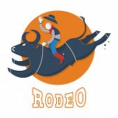Rodeo Symbol.man Riding A Bull