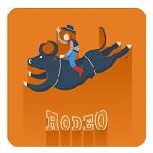 picture of bull riding  - Rodeo symbol - JPG