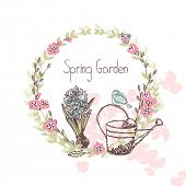 garden theme, spring floral wreath