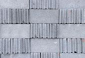 stock photo of cinder block  - Detail and pattern of concrete blocks - JPG