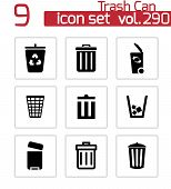 stock photo of dustbin  - Vector black trash can icons set on white background - JPG