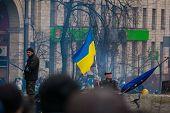 KIEV,UKRAINE FEB 22: Flag of Ukraine over the barricades in Kiev city centre 2014