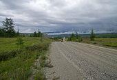 Dirt Road In Siberia, Russia.