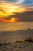 stock photo of gulf mexico  - Sunset over the Gulf of Mexico in Panama City Beach in Florida USA - JPG