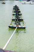 image of aerator  - aeration turbine generate oxygen in shrimp farm