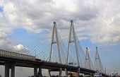 Large Obukhov Cable-stayed Bridge Across The Neva River In St. Petersburg