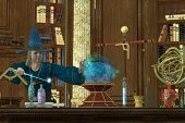 picture of witch-doctor  - A magician casts a spell with his wand and crystal ball in his library and laboratory - JPG