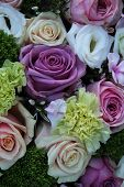 image of centerpiece  - Floral wedding centerpiece in purple pink and white - JPG