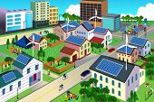 foto of turbines  - A vector illustration of city scene where the residents are very conscious about their environment and going green concept - JPG