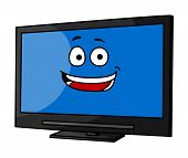 Cheeky smiling cartoon TV or monitor