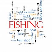 stock photo of crappie  - Fishing Word Cloud Concept with great terms such as bobber lure pole and more - JPG