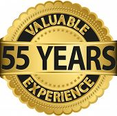 Valuable 55 years of experience golden label with ribbon, vector illustration