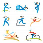 Sports Healthy Woman Icons