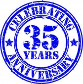 Celebrating 35 years anniversary grunge rubber stamp, vector illustration