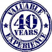 Valuable 40 years of experience rubber stamp, vector illustration