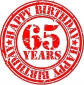 Grunge 65 years happy birthday rubber stamp, vector illustration