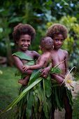 Melanesian children and baby in Luganville, Vanuatu