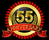 55 years anniversary golden label with ribbons, vector illustration