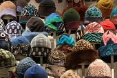 Winter Hats On Display At Mipap Trade Show In Milan, Italy