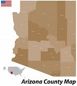 stock photo of pima  - The map of the state of Arizone with all counties and cities - JPG