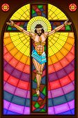 Stained Glass Painting of Crucifixion