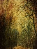 stock photo of manila paper  - Vintage grunge yellow paper texture with winter bare trees landscape - JPG