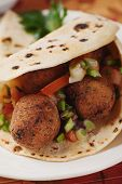 Falafel, deep fried chichpea balls in pita bread