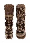 image of tiki  - 3D digital render of Tiki statues isolated on white background - JPG