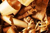 Wood shavings in variety of wood.