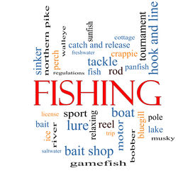 stock photo of fishing bobber  - Fishing Word Cloud Concept with great terms such as bobber lure pole and more - JPG