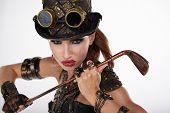Steampunk woman golf player