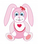 Cute plush toy bunny (vector illustration)