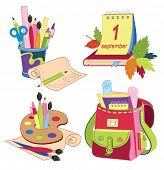 Set of school icons. Back To School. Vector Illustrations