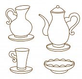 collection of porcelain tableware for tea (coloring book)