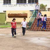 Children Playing Football in Banos, Ecuador