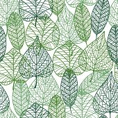stock photo of embellish  - Green leaves seamless pattern with outline elements - JPG
