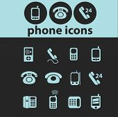 phone isolated icons, signs, illustrations, silhouettes set, vector