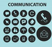 communication isolated icons, signs, illustrations, silhouettes set, vector