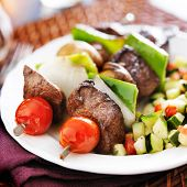 picture of kababs  - steak and vegetable shishkabobs with cucumber salad - JPG