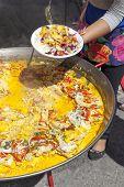Serving traditional Brasil food