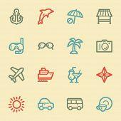 Vacation web icon set 1, retro color