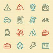 Travel web icon set 1, retro color